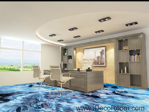 Image of Sea Bubble Beach Ocean Rocks 00041 Floor Decals 3D Wallpaper Wall Mural Stickers Print Art Bathroom Decor Living Room Kitchen Waterproof Business Home Office Gift