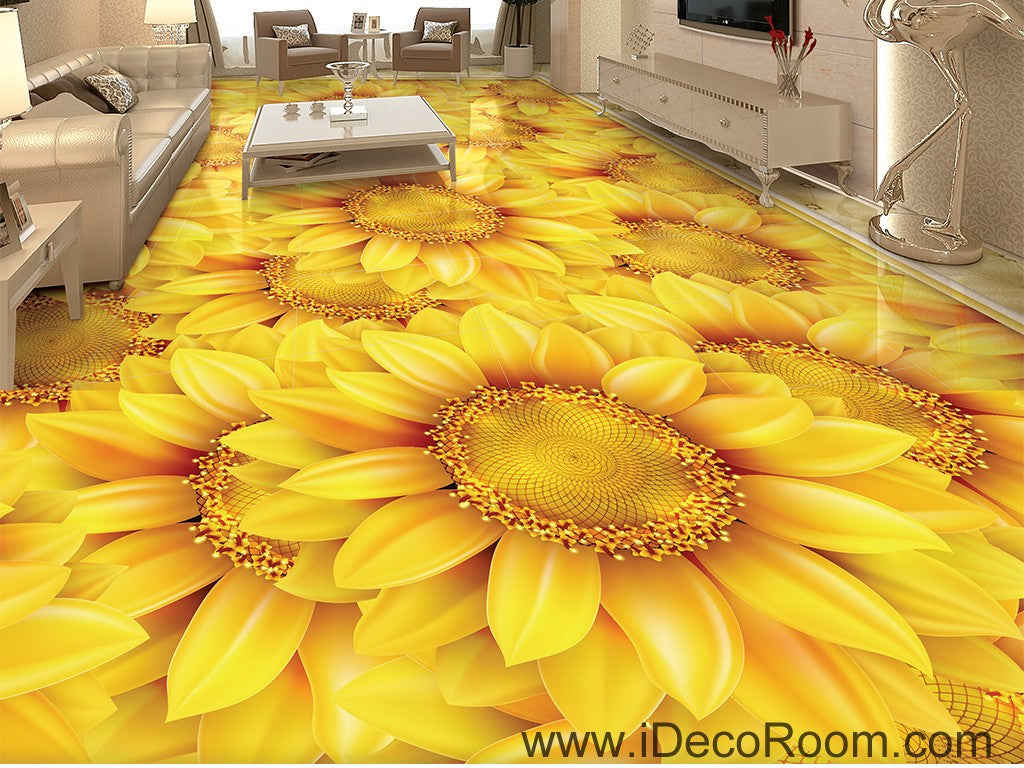 Gold Sunflowers Field 00044 Floor Decals 3d Wallpaper Wall