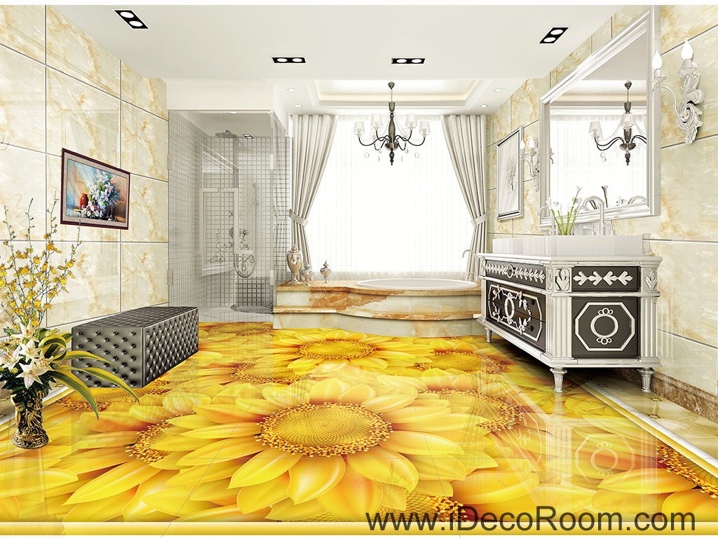Gold sunflowers field 00044 floor decals 3d wallpaper wall for 3d wallpaper for bathroom