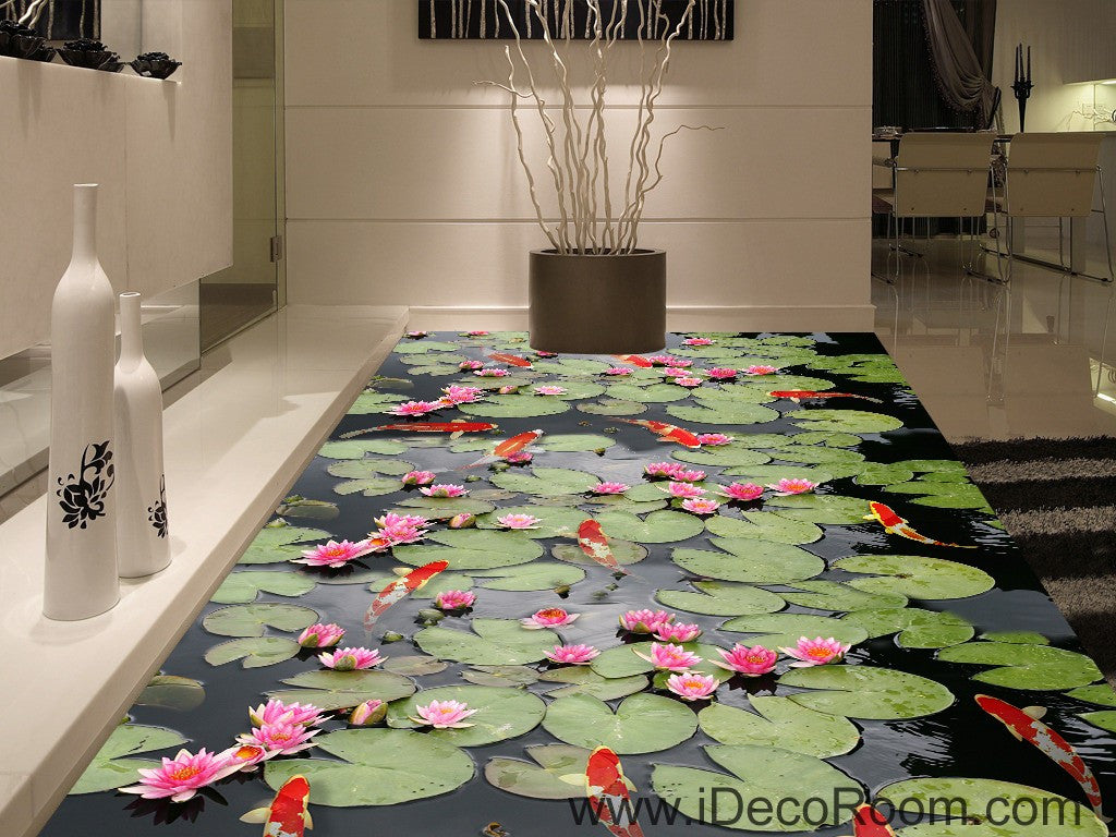 Water Lily Lotus Red Carp Fish 00045 Floor Decals 3d