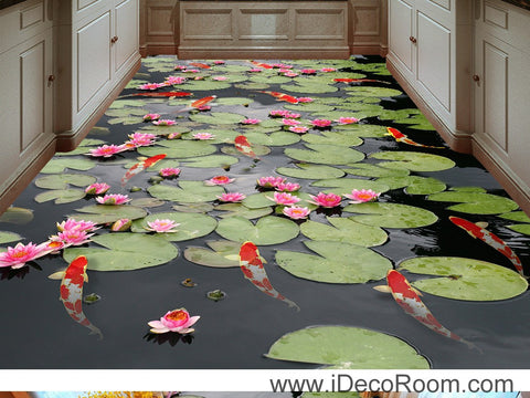 Image of Water Lily Lotus Red Carp Fish 00045 Floor Decals 3D Wallpaper Wall Mural Stickers Print Art Bathroom Decor Living Room Kitchen Waterproof Business Home Office Gift