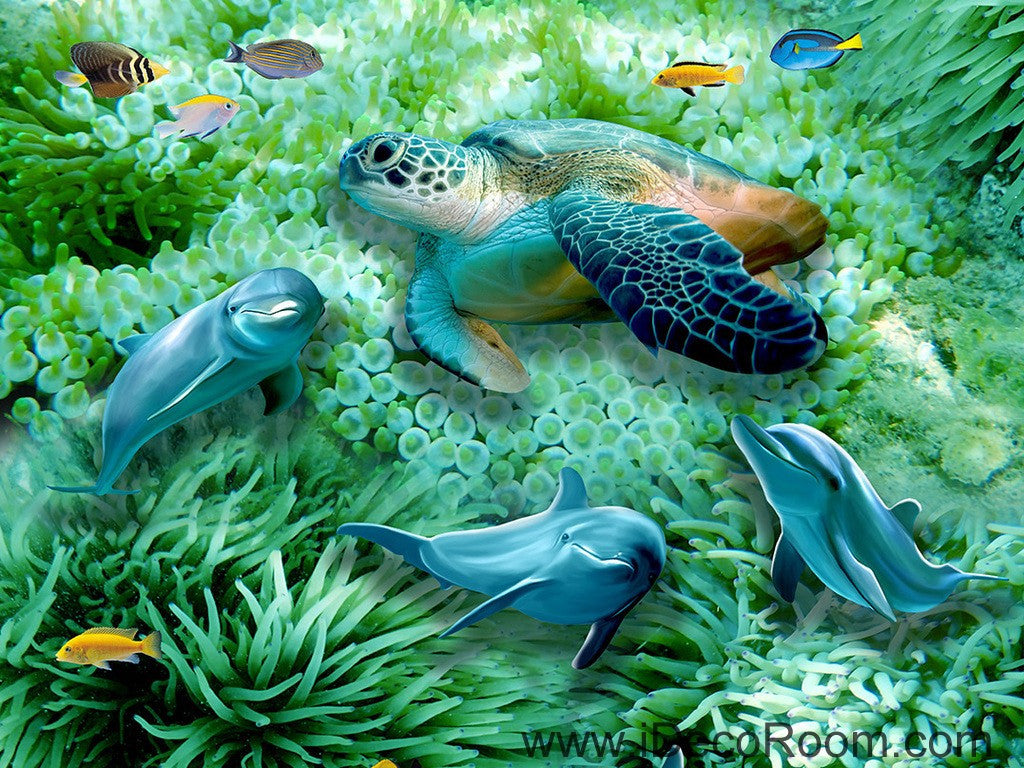 Green Seabed Coral Dophins Turtle 00046 Floor Decals 3D Wallpaper Wall Mural Stickers Print Art Bathroom Decor Living Room Kitchen Waterproof Business Home Office Gift