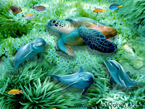 Image of Green Seabed Coral Dophins Turtle 00046 Floor Decals 3D Wallpaper Wall Mural Stickers Print Art Bathroom Decor Living Room Kitchen Waterproof Business Home Office Gift
