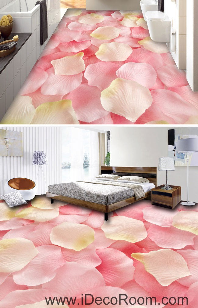 Pink Rose Petals Full 00047 Floor Decals 3D Wallpaper Wall Mural ...
