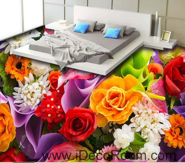 Colorful Flowers Rose Lily 00048 Floor Decals 3D Wallpaper