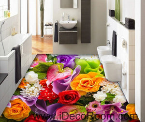 Colorful Flowers Rose Lily 00048 Floor Decals 3D Wallpaper Wall Mural Stickers Print Art Bathroom Decor Living Room Kitchen Waterproof Business Home Office Gift