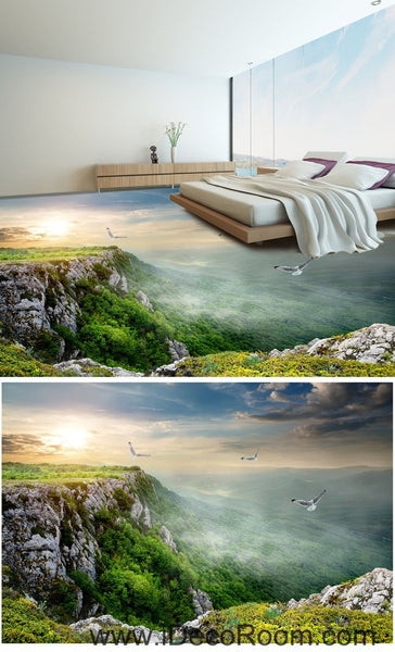 mountain top birds 00049 floor decals 3d wallpaper wall mural stickers idecoroom. Black Bedroom Furniture Sets. Home Design Ideas