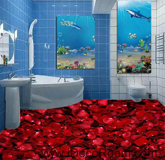 Red Roses Lover Wedding Decor Gift 00050 Floor Decals 3D Wallpaper Wall Mural Stickers Print Art Bathroom Decor Living Room Kitchen Waterproof Business Home Office Gift