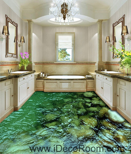 Design Ideas For Kitchen Bathroom Living Room: Clear Water Steam Stone 00052 Floor Decals 3D Wallpaper Wall Mural Sti