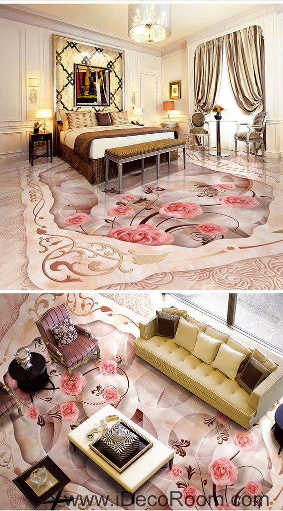 Pink Rose Carpet Shape 00055 Floor Decals 3D Wallpaper Wall Mural Stickers Print Art Bathroom Decor Living Room Kitchen Waterproof Business Home Office Gift