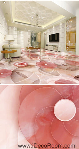 Image of Pink Flower Circle 00056 Floor Decals 3D Wallpaper Wall Mural Stickers Print Art Bathroom Decor Living Room Kitchen Waterproof Business Home Office Gift