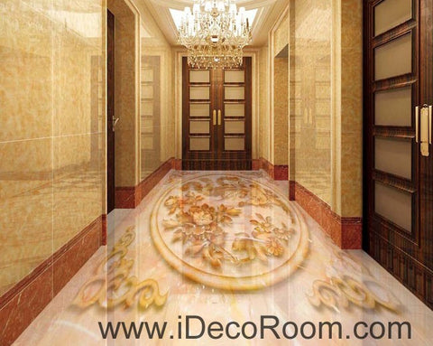 Image of Phoenix Peony Flower Pattern 00057 Floor Decals 3D Wallpaper Wall Mural Stickers Print Art Bathroom Decor Living Room Kitchen Waterproof Business Home Office Gift