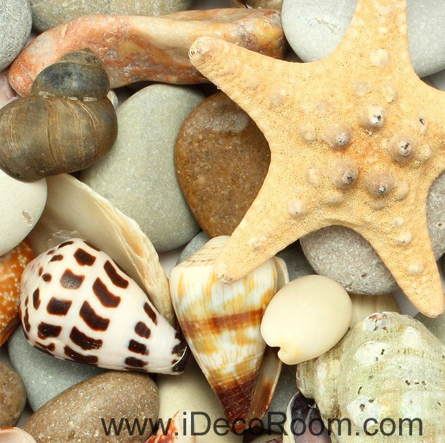 Trumpet Shell Starfish Stone 00058 Floor Decals 3D Wallpaper Wall Mural Stickers Print Art Bathroom Decor Living Room Kitchen Waterproof Business Home Office Gift