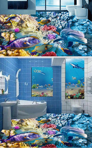 Color Coral Dophin Blue Ocean 00059 Floor Decals 3D Wallpaper Wall Mural Stickers Print Art Bathroom Decor Living Room Kitchen Waterproof Business Home Office Gift