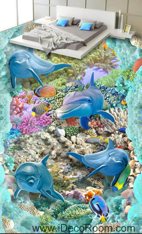 4 Dophins Color Fish Coral Seaweed Blue Ocean 00062 Floor Decals 3D Wallpaper Wall Mural Stickers Print Art Bathroom Decor Living Room Kitchen Waterproof Business Home Office Gift