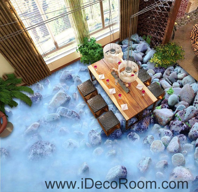 Fog Stones Rock 00063 Floor Decals 3D Wallpaper Wall Mural Stickers Print Art Bathroom Decor Living Room Kitchen Waterproof Business Home Office Gift