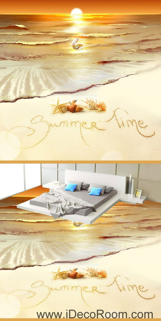 Summer Time Sunset Shell Pearl 00064 Floor Decals 3D Wallpaper Wall Mural Stickers Print Art Bathroom Decor Living Room Kitchen Waterproof Business Home Office Gift