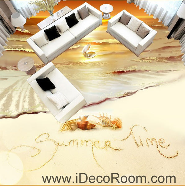 Free Shipping 4pcs Shell Pearl Beach Wall Painting Print: Summer Time Sunset Shell Pearl 00064 Floor Decals 3D