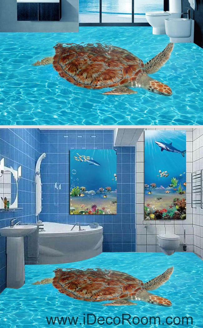 Giant Turtle In The Sea Ocean 00065 Floor Decals 3d
