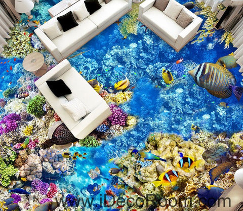 Image of Anemone Fish Colorful Coral Seabed Seafloor 00067 Floor Decals 3D Wallpaper Wall Mural Stickers Print Art Bathroom Decor Living Room Kitchen Waterproof Business Home Office Gift