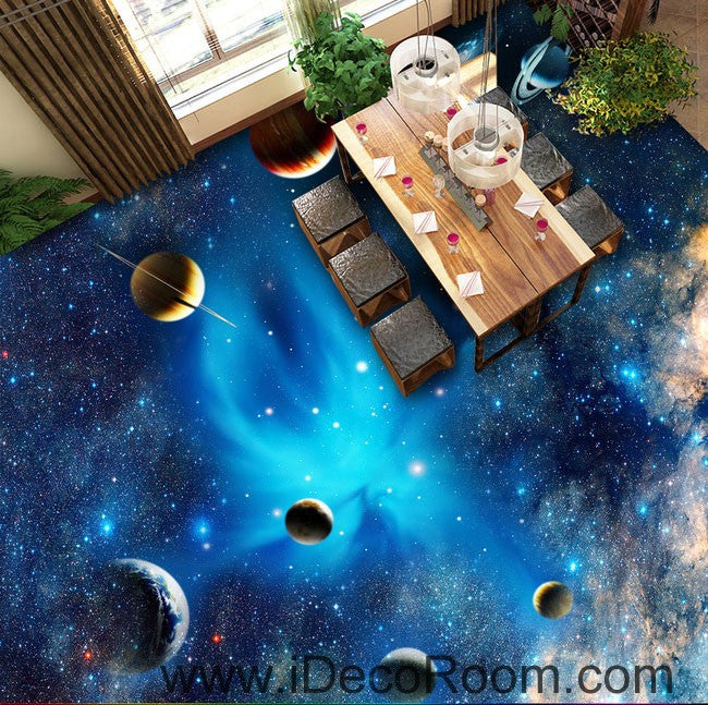 Planet universe galexy 00068 kids nursery floor decals 3d for Bathroom floor mural sky