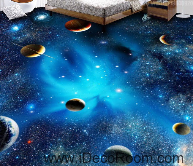Planet Universe Galexy 00068 Kids Nursery Floor Decals 3D Wallpaper Wall Mural Stickers Print Art Bathroom Decor Living Room Kitchen Waterproof Business Home Office Gift