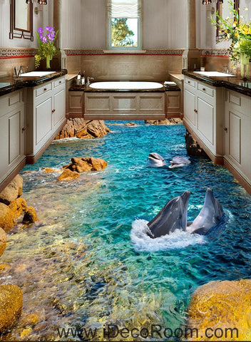 Dophin Bay Rocks 00069 Floor Decals 3D Wallpaper Wall Mural Stickers Print Art Bathroom Decor Living Room Kitchen Waterproof Business Home Office Gift
