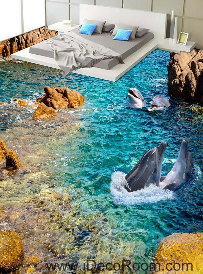 Dophin Bay Rocks 00069 Floor Decals 3d Wallpaper Wall