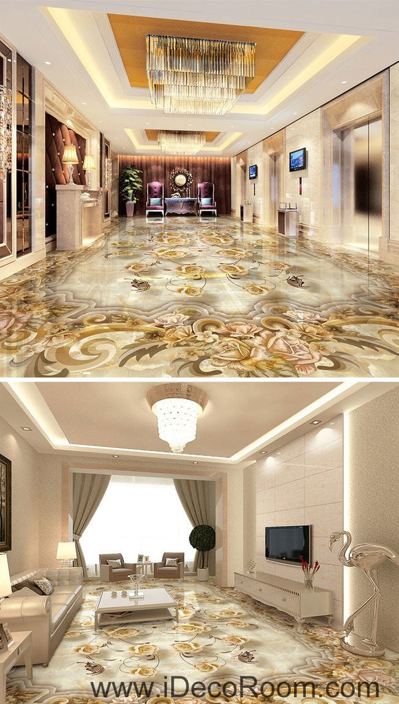Classic Luxury Roses 00070 Floor Decals 3D Wallpaper Wall Mural Stickers Print Art Bathroom Decor Living Room Kitchen Waterproof Business Home Office Gift