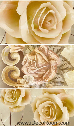 Image of Classic Luxury Roses 00070 Floor Decals 3D Wallpaper Wall Mural Stickers Print Art Bathroom Decor Living Room Kitchen Waterproof Business Home Office Gift