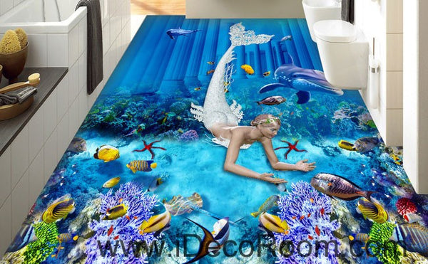 Mermaid Dophin Coral Fish Seabed 00073 Floor Decals 3d