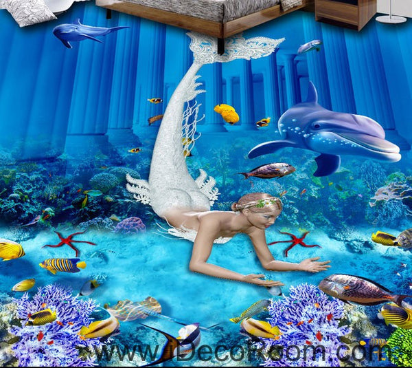 Mermaid Dophin Coral Fish Seabed 00073 Floor Decals 3d Wallpaper Wall Idecoroom