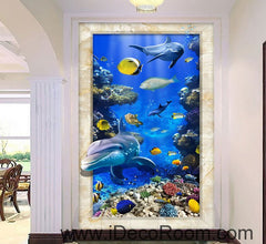 Dophin Chasing Coral Fish Ocean 00074 Floor Decals 3D Wallpaper Wall Mural Stickers Print Art Bathroom Decor Living Room Kitchen Waterproof Business Home Office Gift