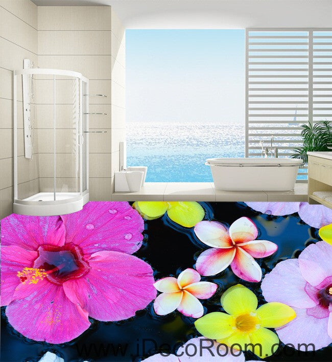 Large Tropical Flower 00077 Floor Decals 3D Wallpaper Wall Mural Stickers Print Art Bathroom Decor Living Room Kitchen Waterproof Business Home Office Gift
