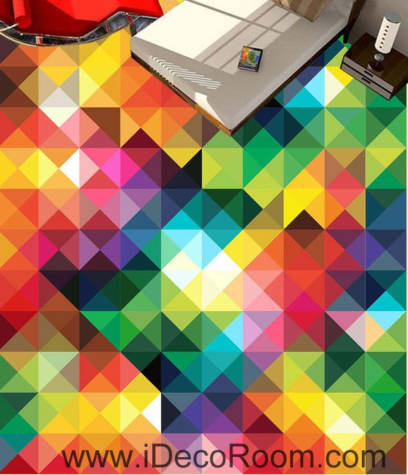 Geometric Rainbow Color Trangle 00078 Floor Decals 3D Wallpaper Wall Mural Stickers Print Art Bathroom Decor Living Room Kitchen Waterproof Business Home Office Gift