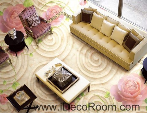 Image of Rose Flower Swirl 00079 Floor Decals 3D Wallpaper Wall Mural Stickers Print Art Bathroom Decor Living Room Kitchen Waterproof Business Home Office Gift
