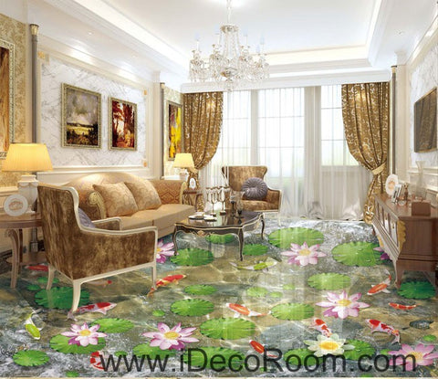 Image of Water Lily Lotus Color Fish lilypad 00083 Floor Decals 3D Wallpaper Wall Mural Stickers Print Art Bathroom Decor Living Room Kitchen Waterproof Business Home Office Gift