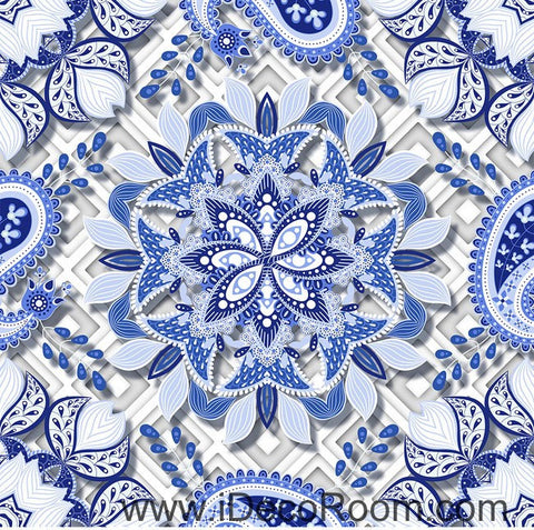 Blue and White Porcelain Flower 00084 Floor Decals 3D Wallpaper Wall Mural Stickers Print Art Bathroom Decor Living Room Kitchen Waterproof Business Home Office Gift