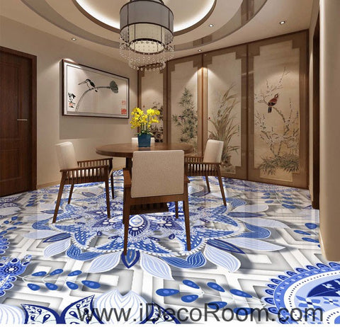 Image of Blue and White Porcelain Flower 00084 Floor Decals 3D Wallpaper Wall Mural Stickers Print Art Bathroom Decor Living Room Kitchen Waterproof Business Home Office Gift