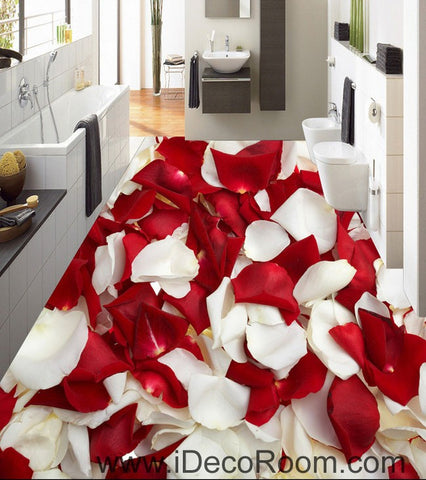 Image of Red & White Rose Petal 00085 Floor Decals 3D Wallpaper Wall Mural Stickers Print Art Bathroom Decor Living Room Kitchen Waterproof Business Home Office Gift