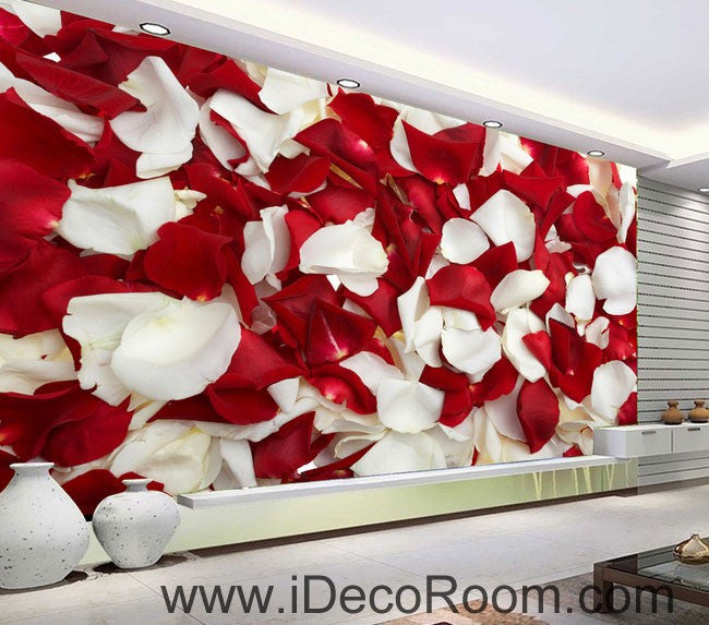 Red & White Rose Petal 00085 Floor Decals 3D Wallpaper Wall Mural Stickers Print Art Bathroom Decor Living Room Kitchen Waterproof Business Home Office Gift