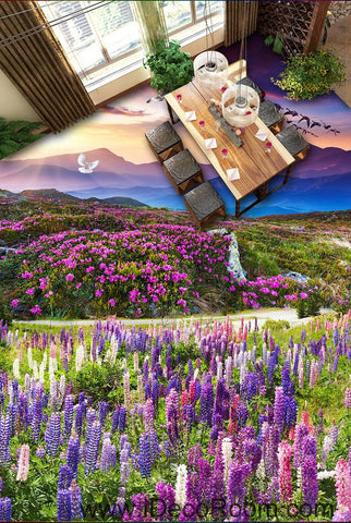 Image of Sunset Mountain Purple Lavender Flowers 00087 Floor Decals 3D Wallpaper Wall Mural Stickers Print Art Bathroom Decor Living Room Kitchen Waterproof Business Home Office Gift