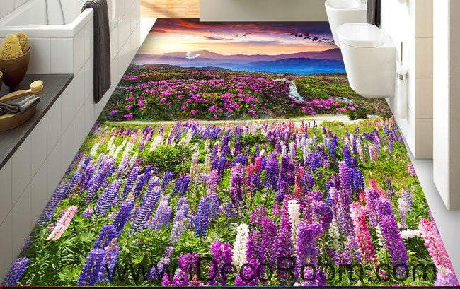 Sunset Mountain Purple Lavender Flowers 00087 Floor Decals 3D