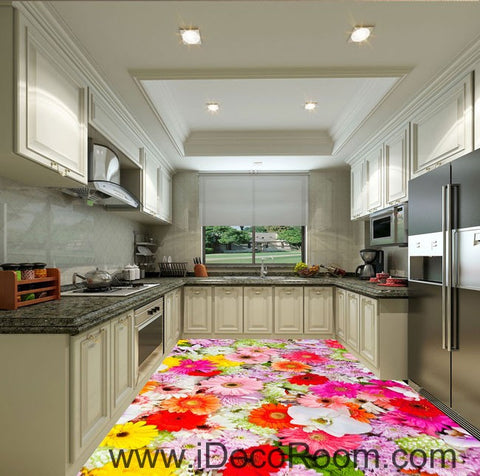 Colorful Flowers Daisy Wedding 00088 Floor Decals 3D Wallpaper Wall Mural Stickers Print Art Bathroom Decor Living Room Kitchen Waterproof Business Home Office Gift