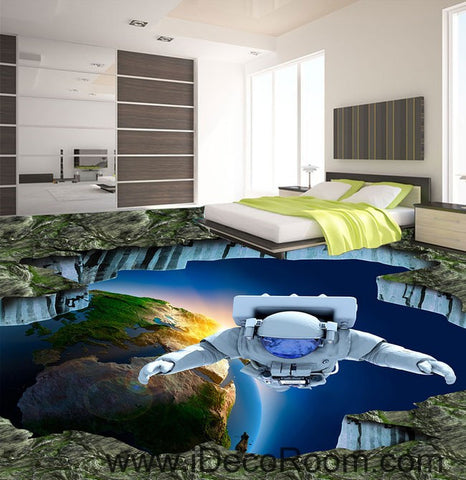 Image of Outspace Astronaut Earth 00091 Floor Decals 3D Wallpaper Wall Mural Stickers Print Art Bathroom Decor Living Room Kitchen Waterproof Business Home Office Gift