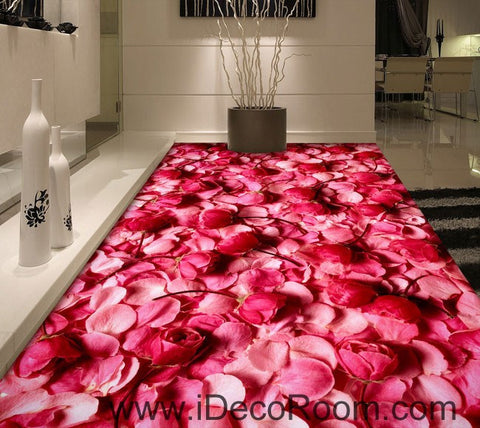 Image of Pink Rose Lover Anniversary Wedding Decor 00092 Floor Decals 3D Wallpaper Wall Mural Stickers Print Art Bathroom Decor Living Room Kitchen Waterproof Business Home Office Gift