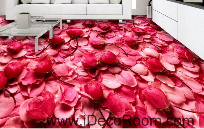 Pink Rose Lover Anniversary Wedding Decor 00092 Floor Decals 3D Wallpaper Wall Mural Stickers Print Art Bathroom Decor Living Room Kitchen Waterproof Business Home Office Gift