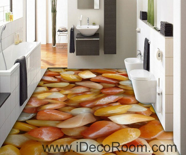 Yellow White Stone 00093 Floor Decals 3D Wallpaper Wall Mural Stickers Print Art Bathroom Decor Living Room Kitchen Waterproof Business Home Office Gift