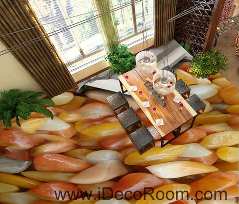 Image of Yellow White Stone 00093 Floor Decals 3D Wallpaper Wall Mural Stickers Print Art Bathroom Decor Living Room Kitchen Waterproof Business Home Office Gift
