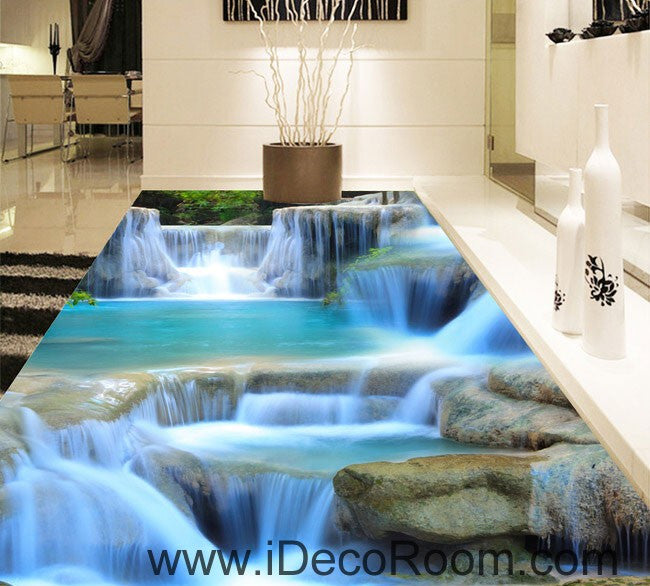 Waterfall pool stage 00094 floor decals 3d wallpaper wall for Bathroom floor mural